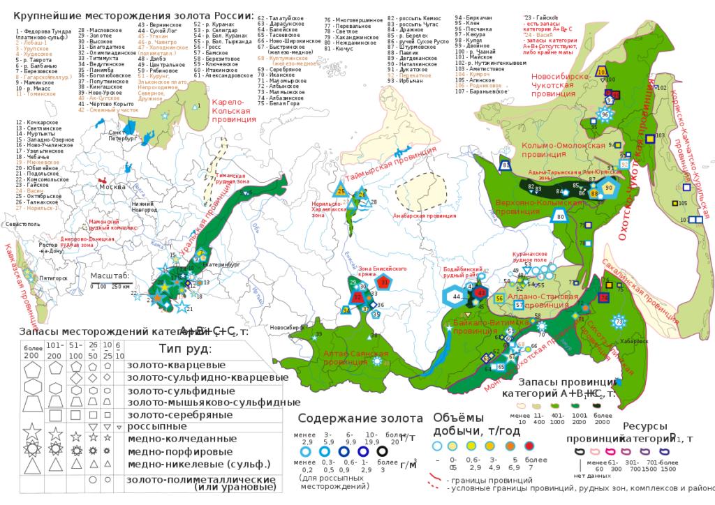 Карта месторождений золота в России