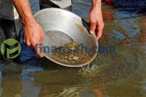 человек промывает золото в лотке